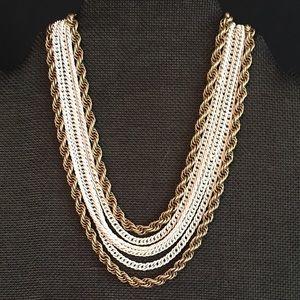 VTG Monet deadstock white, gold six strand choker